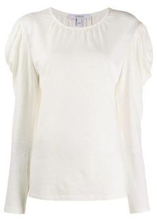 Derek Lam Amara Long Sleeve Linen Cotton Puff Shoulder Jersey Tee