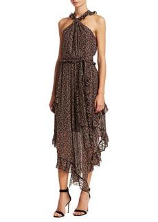 Derek Lam Asymmetric Floral Halter Midi Dress