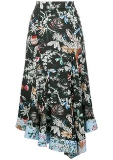 Derek Lam asymmetric wallpaper floral skirt