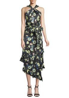 Derek Lam Asymmetrical Floral Ruffle Halter Midi Dress