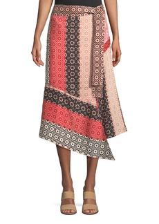 Derek Lam Asymmetrical Geo-Print Silk Wrap Skirt
