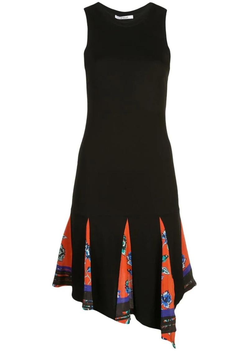 Derek Lam Asymmetrical Hem Matt Jersey Tank Dress With Printed Godet Insert