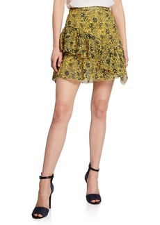 Derek Lam Asymmetrical Ruffle Tulip Mini Skirt