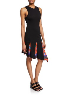 Derek Lam Asymmetrical Tank Dress with Printed Godet Insert