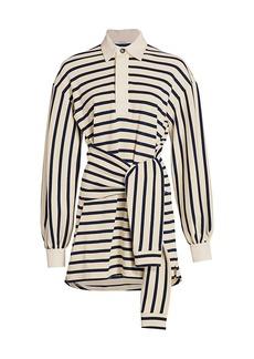 Derek Lam Baxter Tie-Front Stripe Cotton Shirtdress