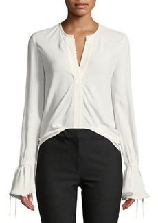 Derek Lam Bell-Sleeves Button-Down Blouse with Scalloped Trim