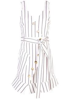 Derek Lam Belted Asymmetrical Placket Pencil Striped Dress