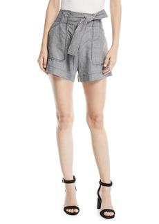 Derek Lam Belted Check Patch-Pocket Linen Shorts