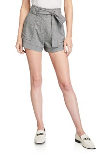 Derek Lam Belted Houndstooth Linen-Blend Shorts