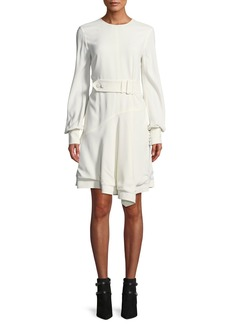 Derek Lam Belted Long-Sleeve Asymmetrical Short Dress