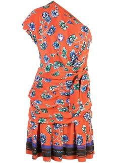 Derek Lam Belted One Shoulder French Floral Dress