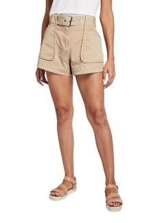 Derek Lam Belted Patch-Pocket Utility Shorts