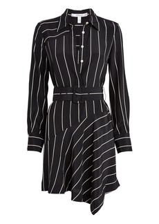 Derek Lam Belted Pinstripe Silk Mini Dress