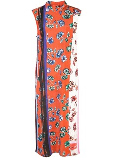 Derek Lam Belted Sleeveless French Floral Dress with Foldover Collar