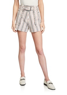 Derek Lam Belted Striped Patch-Pocket Cotton Shorts