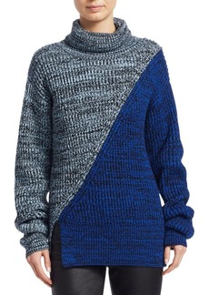 Derek Lam Bi-Color Merino Wool Turtleneck Sweater