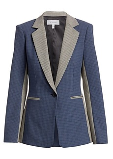 Derek Lam Bowery Colorblocked Check Tailored Blazer