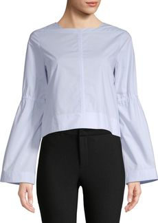Derek Lam Boxy Cotton Bell-Sleeve Top