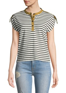Derek Lam Breton-Striped Short-Sleeve Tab-Shoulder Tee