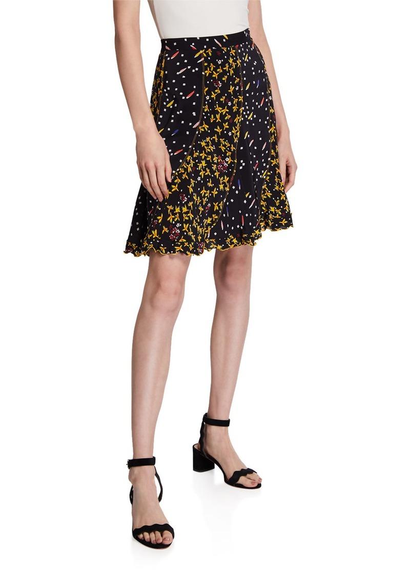 Derek Lam Bronte Mixed-Print Flare Skirt