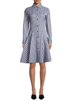 Derek Lam Button-Front Long-Sleeve Striped Shirting Dress