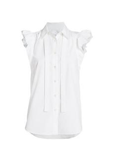Derek Lam Calvet Ruffle-Sleeve Cotton Shirt
