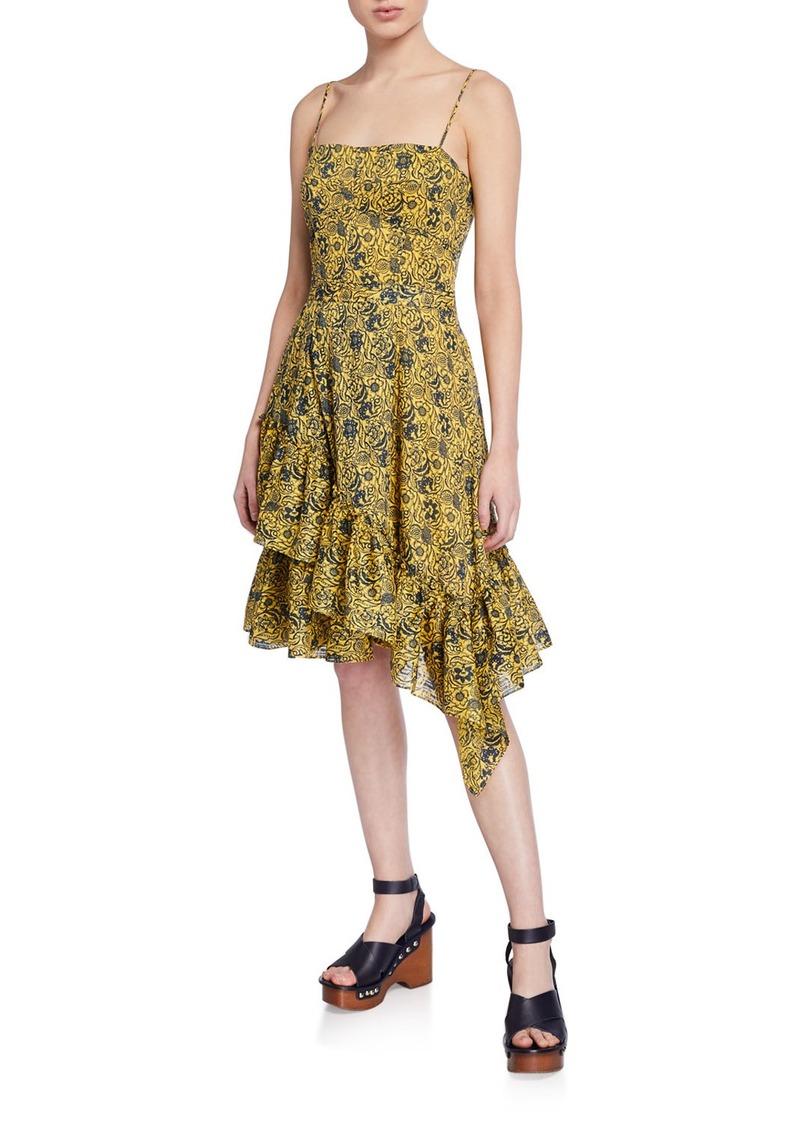 Derek Lam Cami Dress with Asymmetric Ruffle Hem