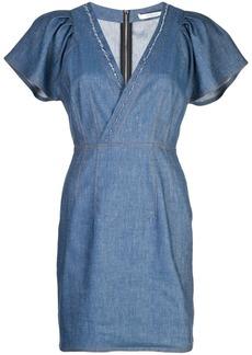 Derek Lam Cap Sleeve Fitted Denim V-Neck Dress