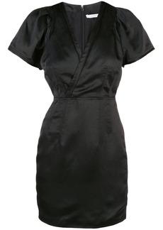 Derek Lam Cap Sleeve Fitted Satin V-Neck Dress