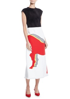 Derek Lam Cap-Sleeve Suede Top Horse-Applique Skirt Midi Sheath Dress