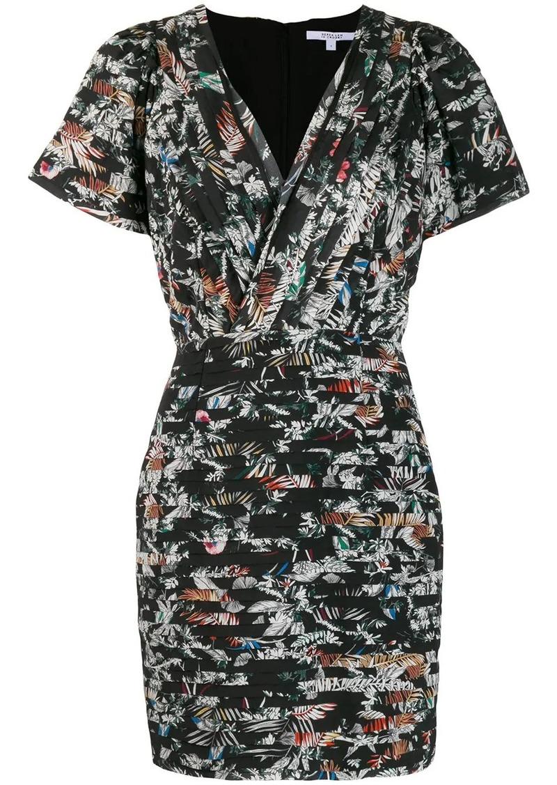 Derek Lam Cap Sleeve Wallpaper Floral Fitted Dress