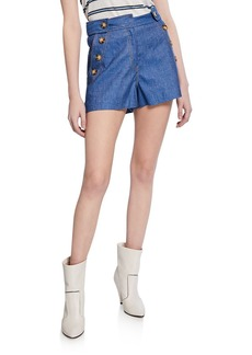 Derek Lam Chambray Shorts with Sailor-Button Detail