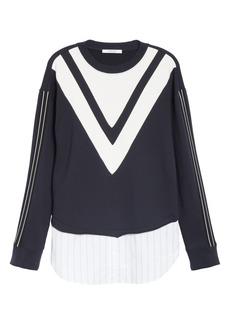 Derek Lam Chevron Detail Mix Media Cotton Sweatshirt