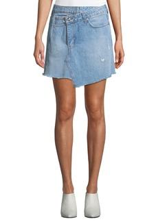 Derek Lam Cleo A-Line Wrap Denim Mini Skirt