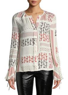 Derek Lam Collarless Bell-Sleeve Printed Silk Blouse