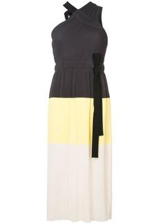 Derek Lam Colorblocked One Shoulder Pleated Dress