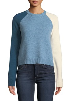 Derek Lam Colorblocked-Sleeve Stretch Wool Sweater