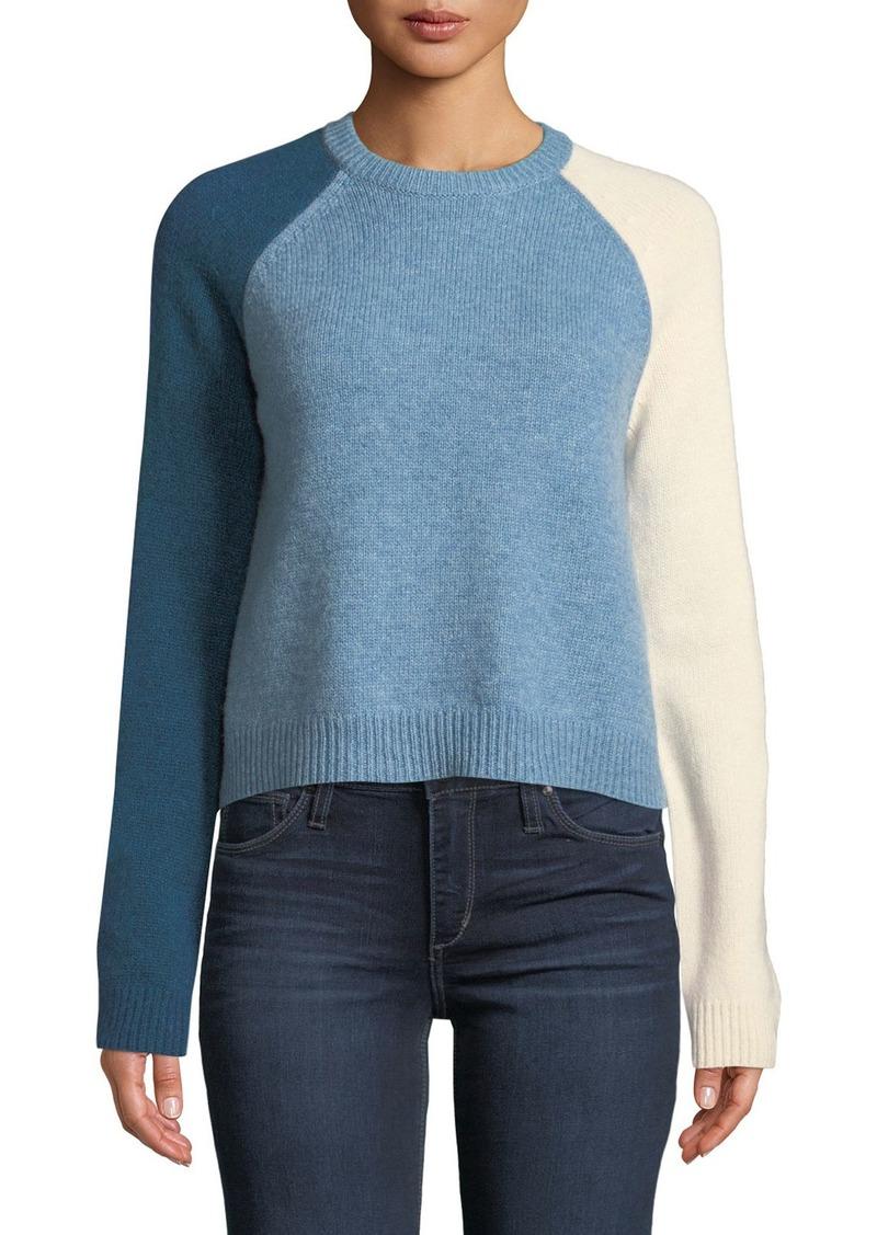 Derek Lam Colorblocked-Sleeve Stretch Wool Sweater