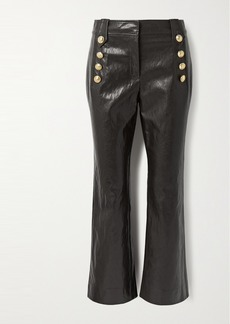 Derek Lam Corinna Button-embellished Cropped Faux Leather Flared Pants