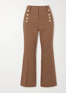 Derek Lam Corinna Cropped Button-embellished Houndstooth Cotton-blend Flared Pants
