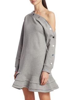Derek Lam Cressida Buttoned One-Shoulder Sweatshirt Dress