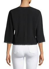 Derek Lam Crewneck Cropped Crepe Blouse w/ Frayed Trim