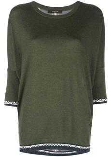 Derek Lam crew neck Dolman Cashmere Sweater with Printed Silk Back