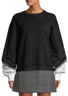 Derek Lam Crewneck Lace-Trim Sweatshirt with Poplin Sleeves