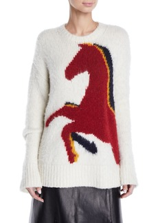 Derek Lam Crewneck Long-Sleeve Horse-Intarsia Wool-Alpaca Sweater