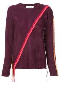 Derek Lam Crewneck Sweater with Asymmetric Braid Detail