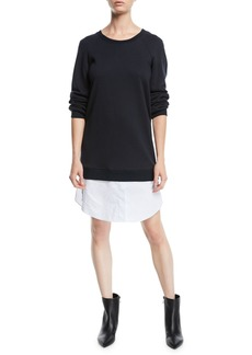 Derek Lam Crewneck Sweatshirt Dress with Shirting Hem