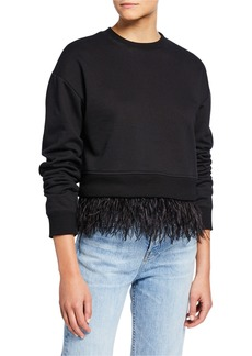 Derek Lam Crewneck Sweatshirt with Ostrich Feather Trim
