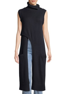 Derek Lam Crisscross Turtleneck Italian Cashmere Knit Tunic w/ Convertible Collar