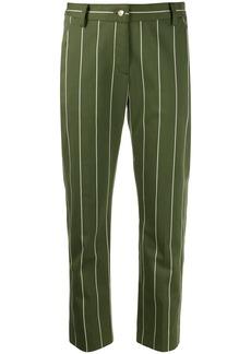 Derek Lam Cropped Cotton Sateen Striped Straight Leg Trouser